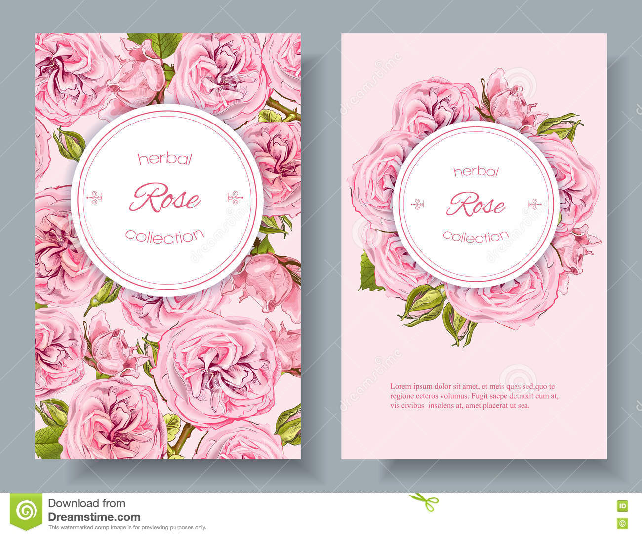 Rose Natural Cosmetics Banners Stock Illustration
