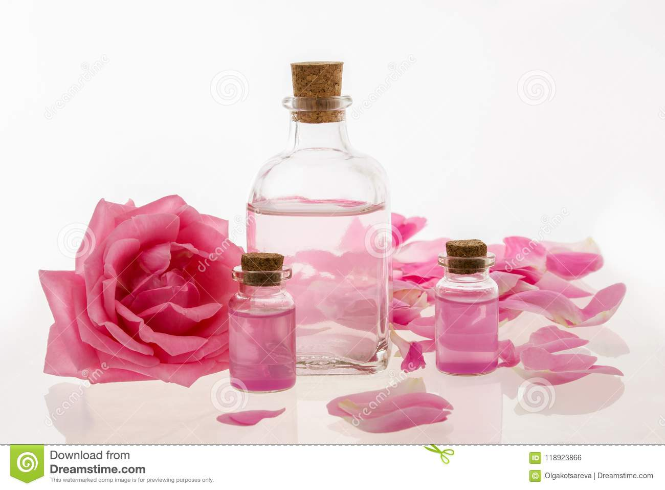Rose Oil Water Extract With Pink Roses Flowers Essential Oil In