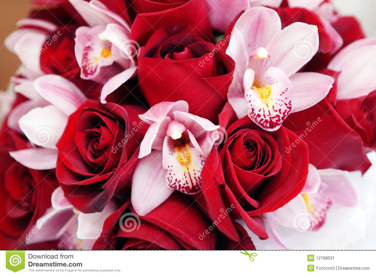 Rose And Orchid Bouquet Stock Image