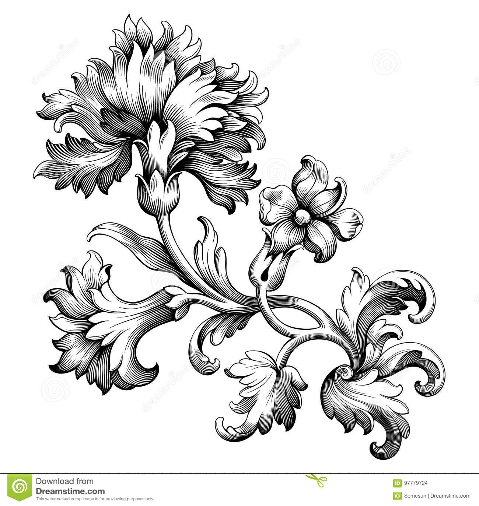 Rose peony flower vintage Baroque Victorian frame border floral ornament scroll engraved retro pattern tattoo filigree vector