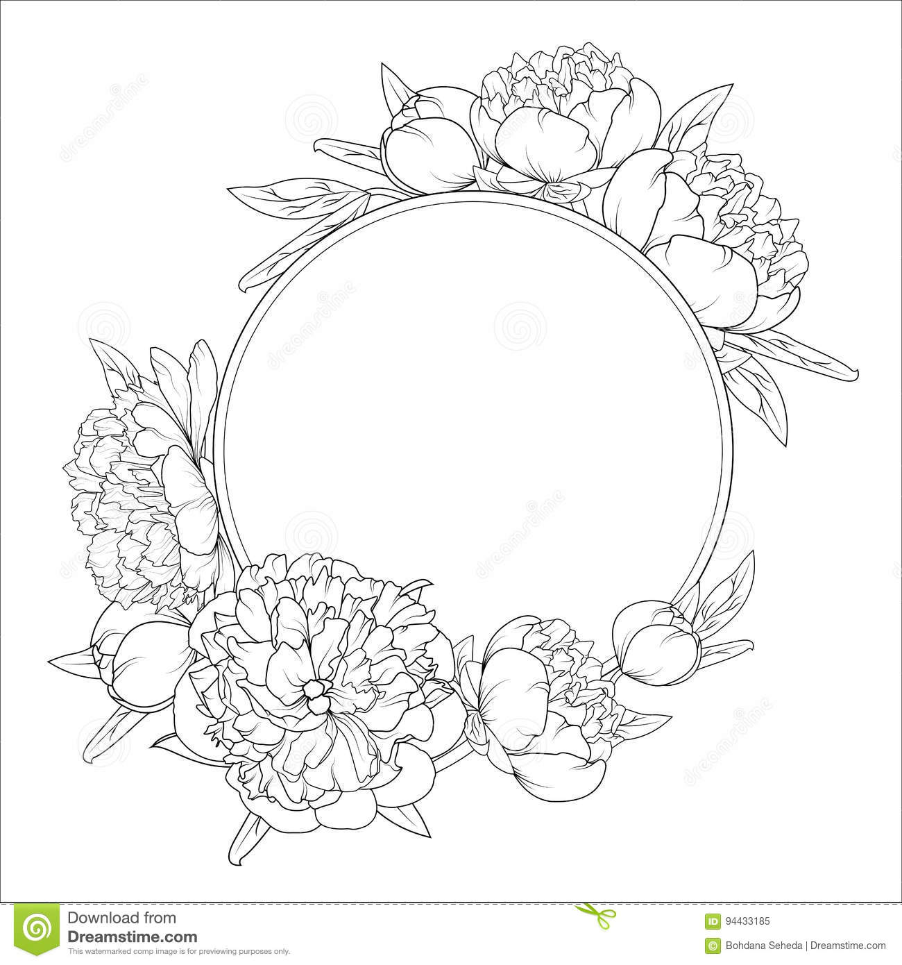 Rose Peony Flowers Roung Wreath Frame Template Stock Vector
