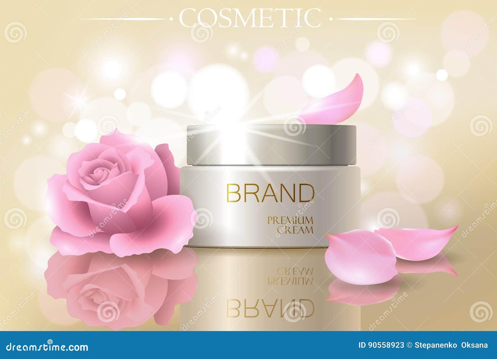 Rose petal flower extract cosmetic ads template, realistic 3D illustration skincare moisturizing mockup elegant glow