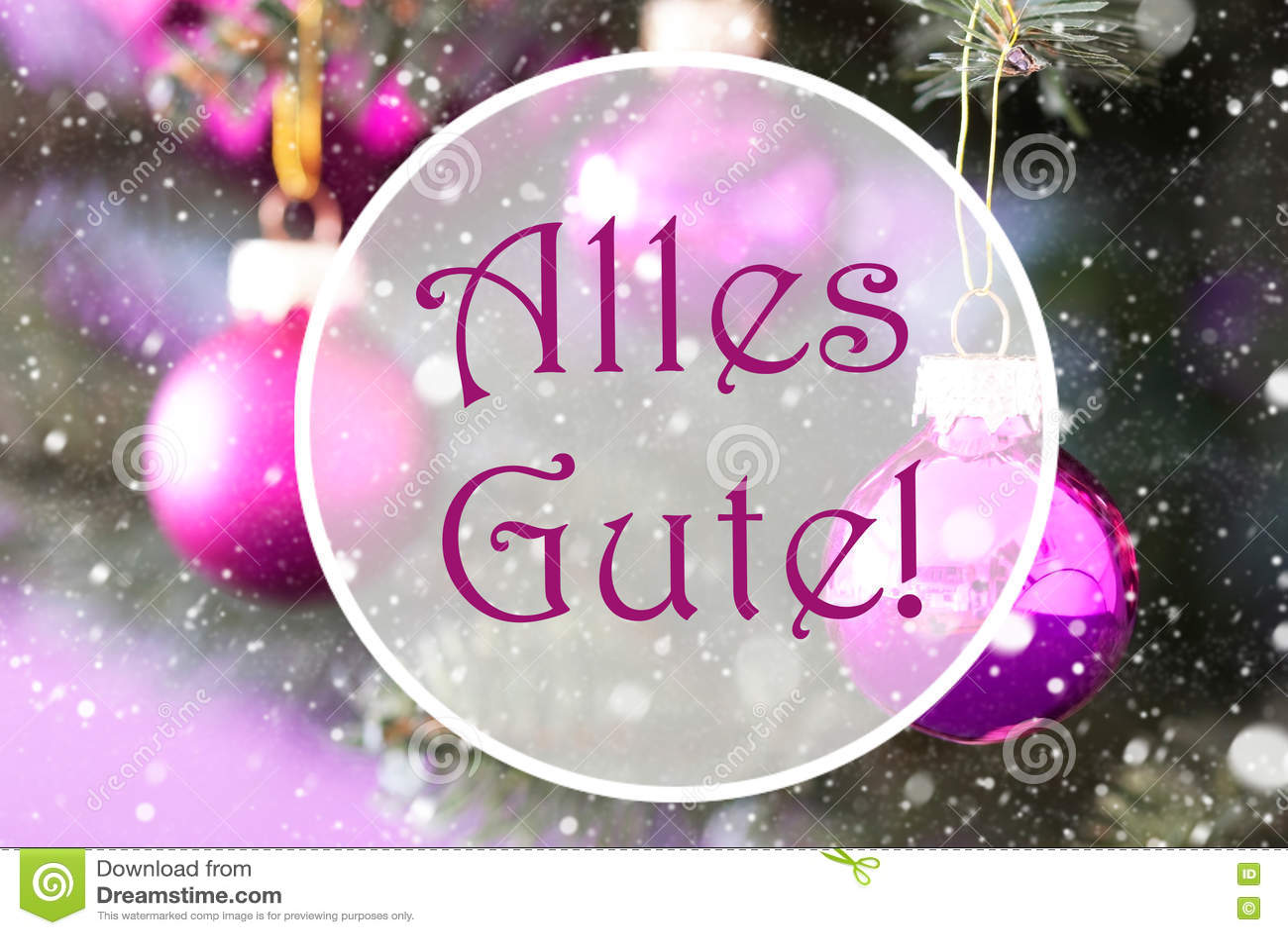 Rose Quartz Christmas Balls Alles Gute Means Best Wishes Stock