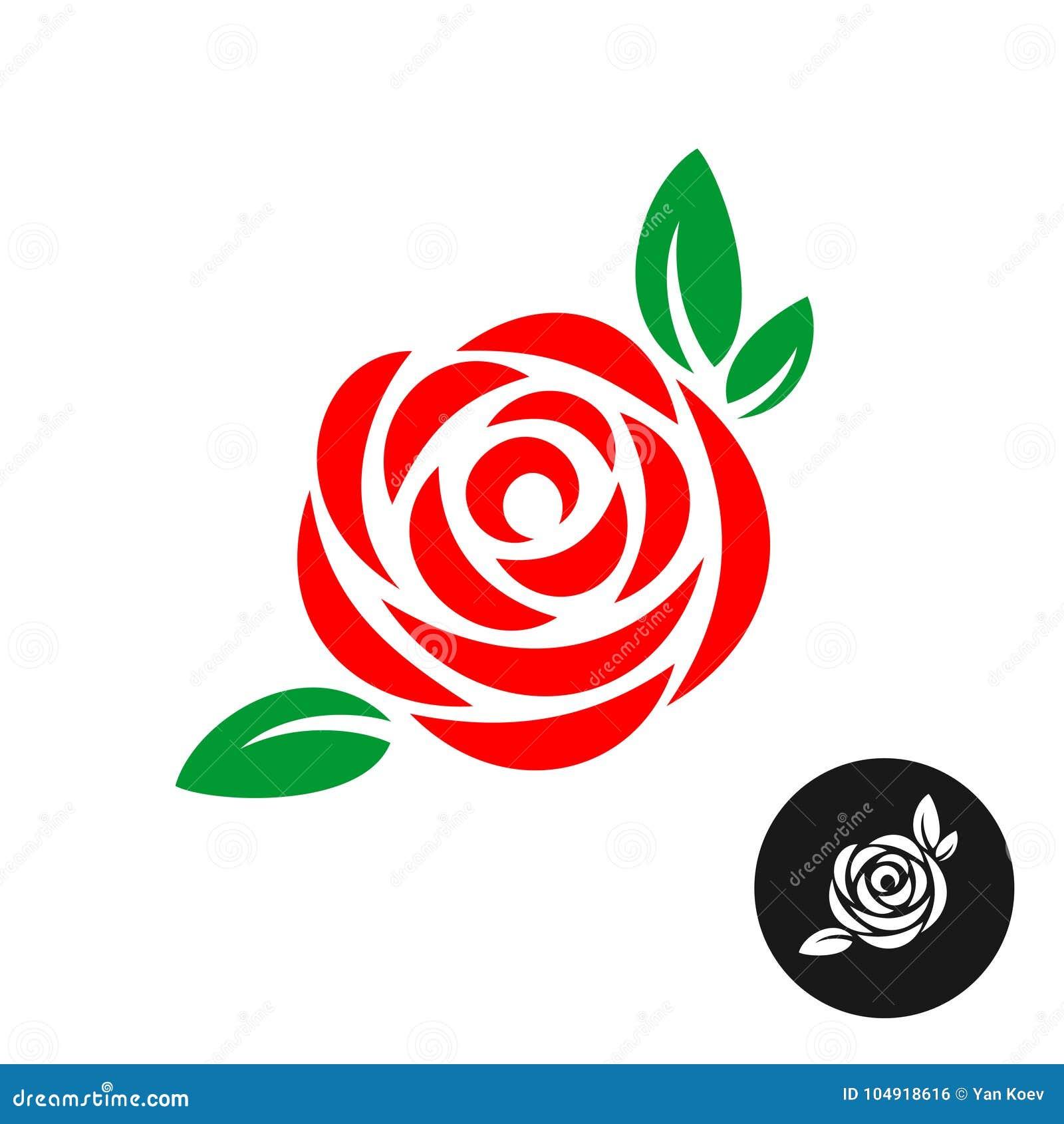 Rose Red Flower With Green Leaves Logo Stock Vector - Illustration ...