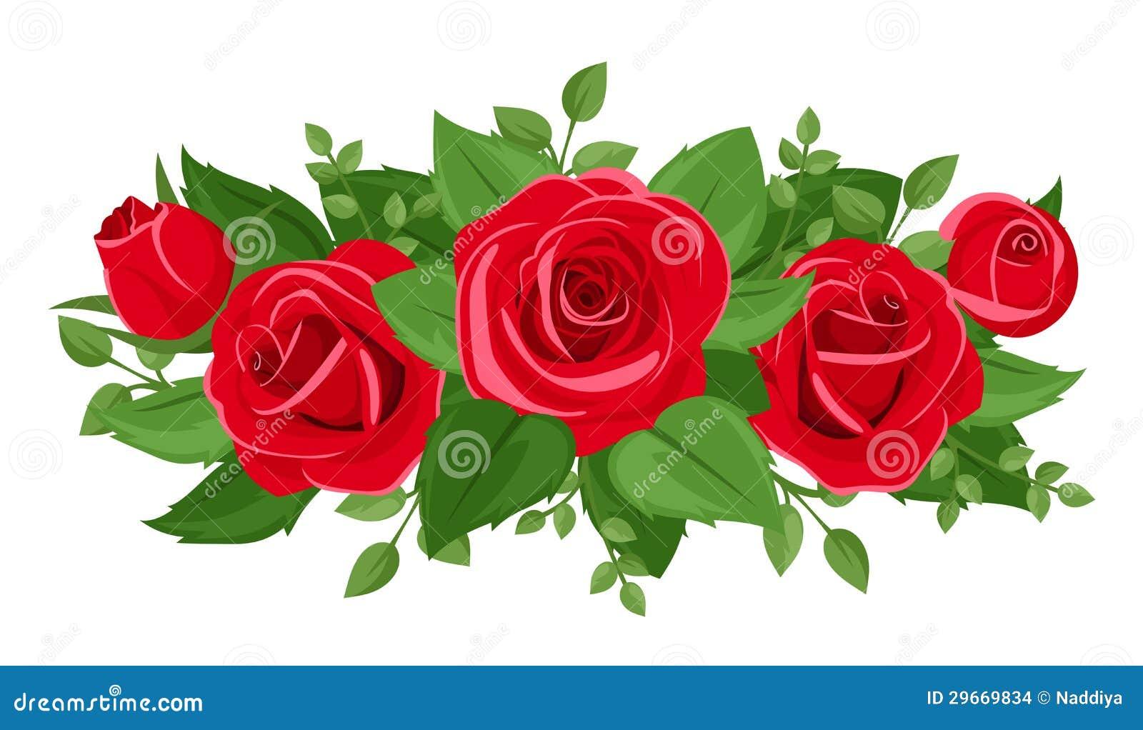 Rose rosse boccioli di rosa e foglie immagini stock for Immagini vector