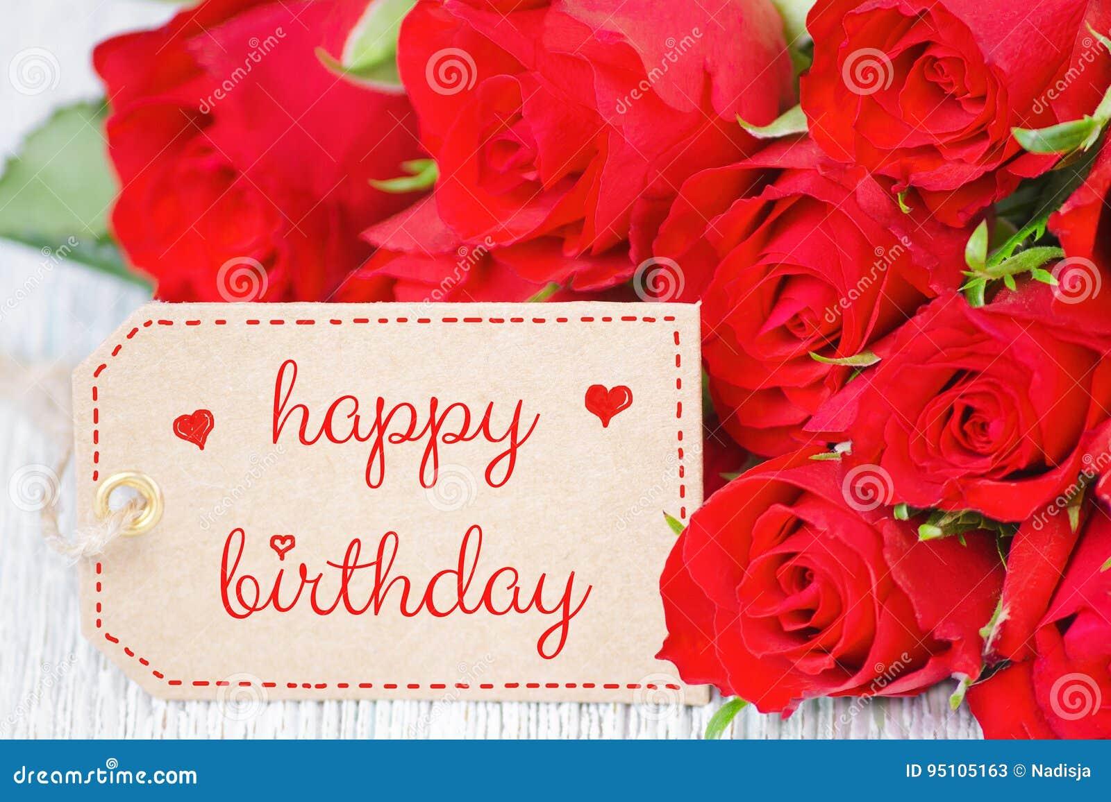 Rose Rosse Del Biglietto Di Auguri Per Il Compleanno E Un Etichetta