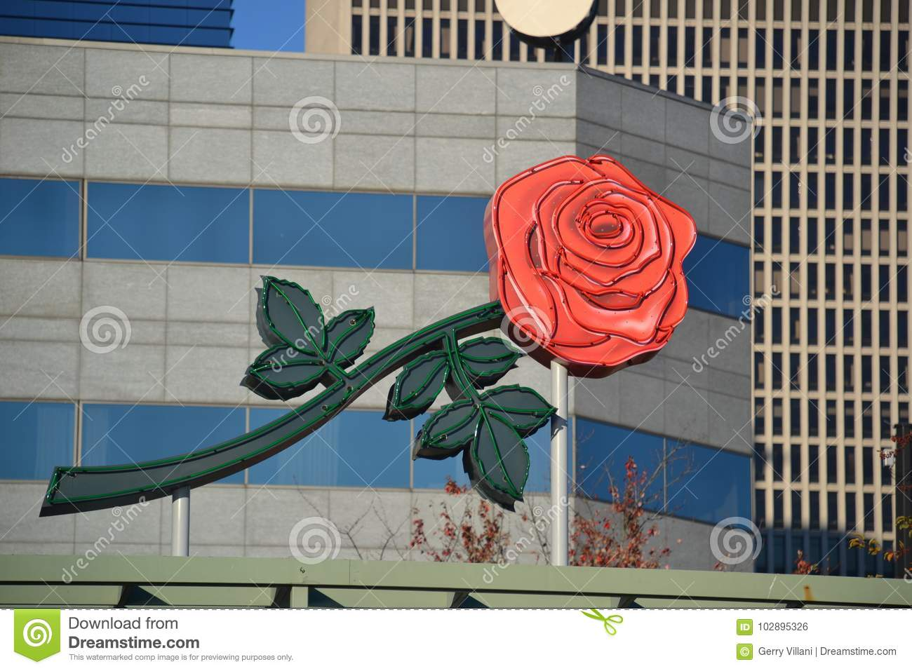 Rose Sign on Building in Portland, Oregon