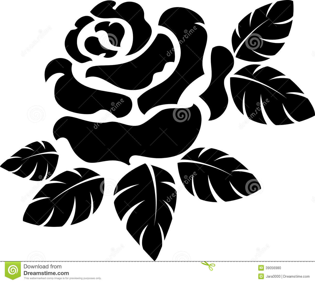 Vector rose silhouette isolated on white. EPS 10.