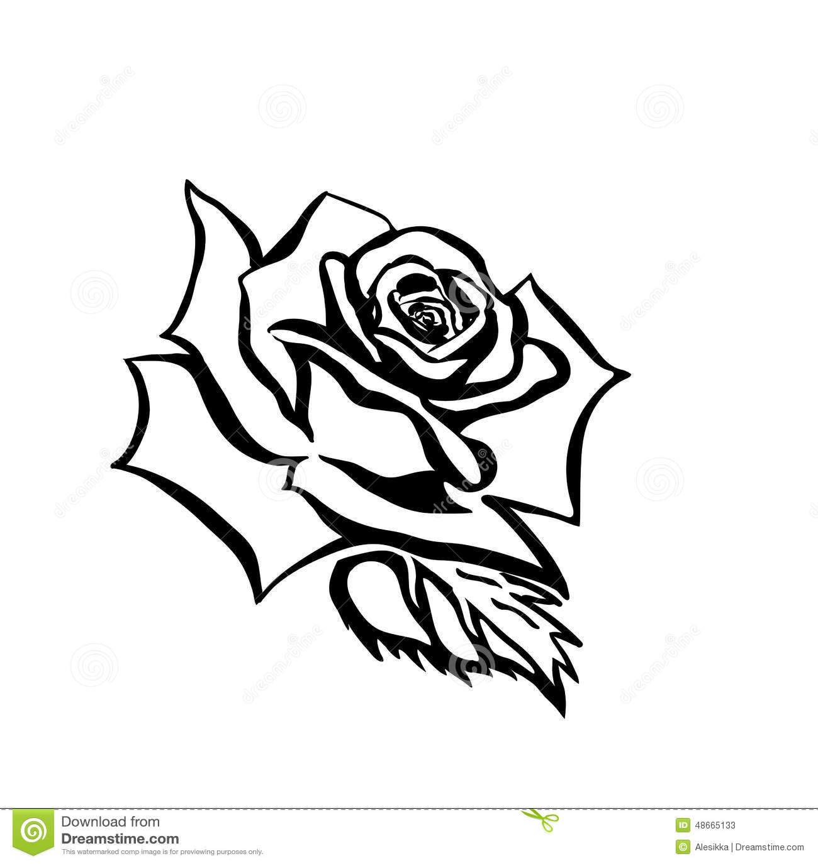 Rose Black And White Outline