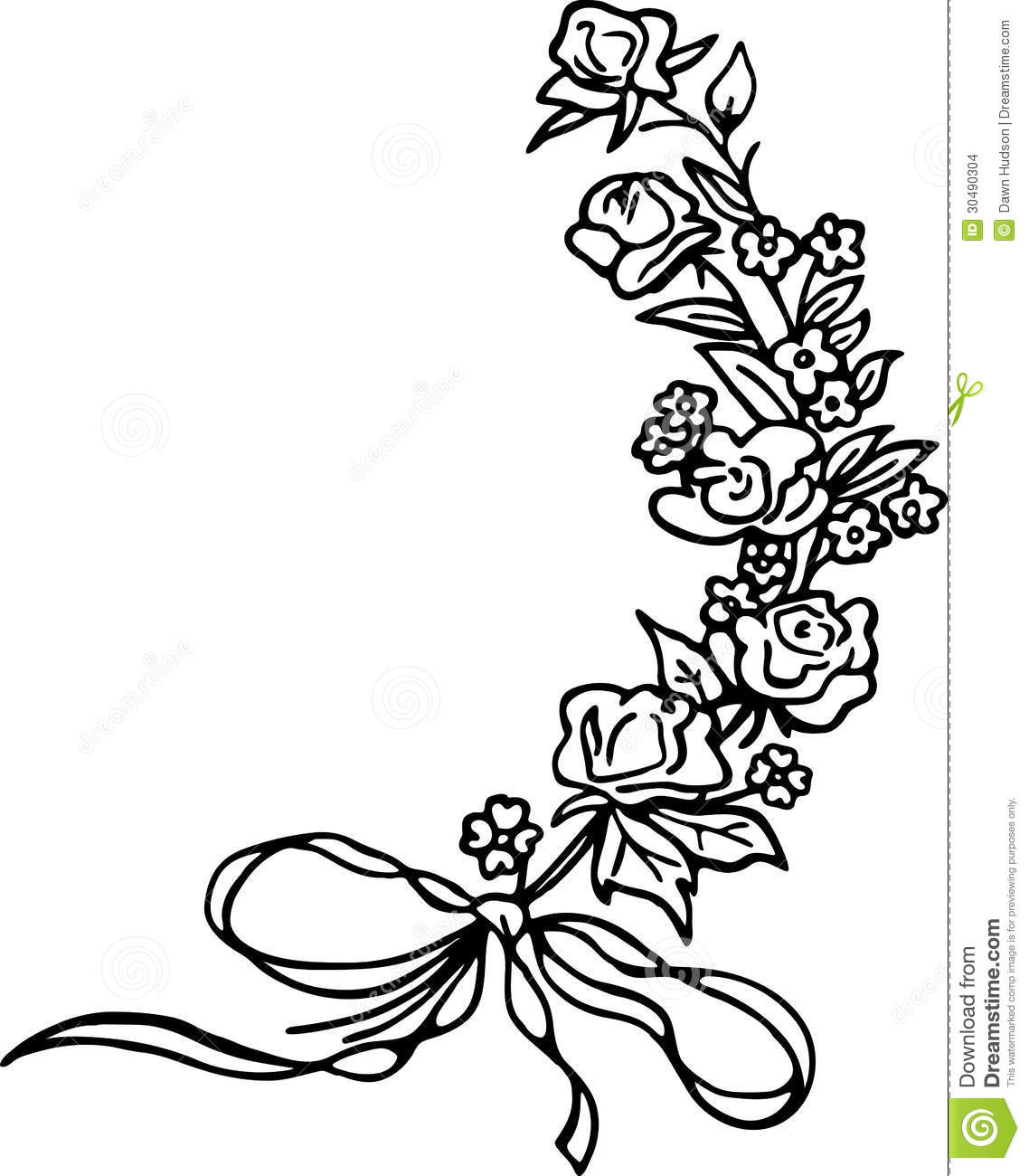 Line Drawing Of A Rose : Rose sprig stock images image