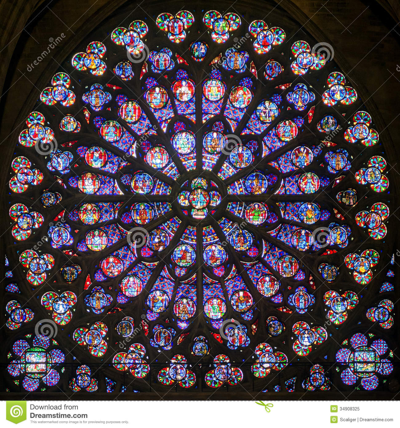 Rose Stained Glass Window In The Cathedral Of Notre Dame