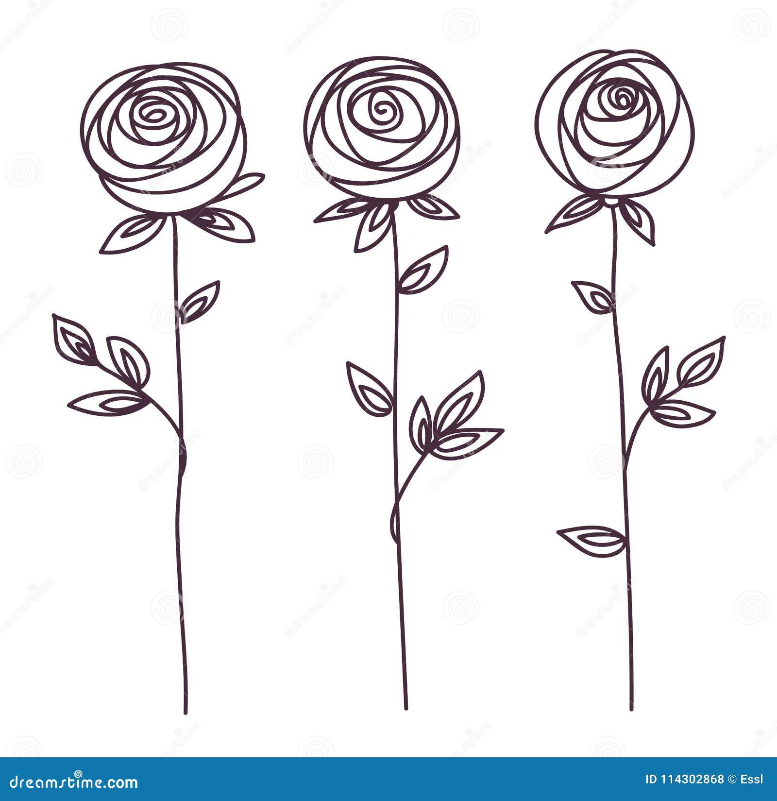 Rose Symbole Stylisé De Fleur Icône De Dessin De Main D