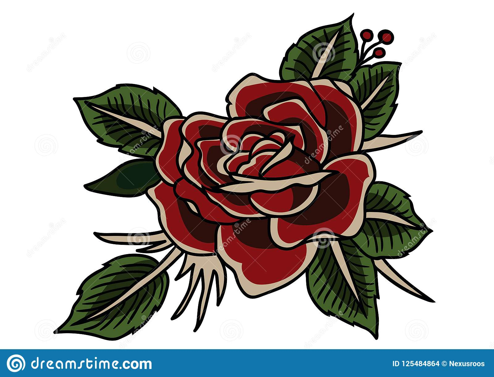 Rose Tattoo Classic Vintage Style Tattoo Stock Vector