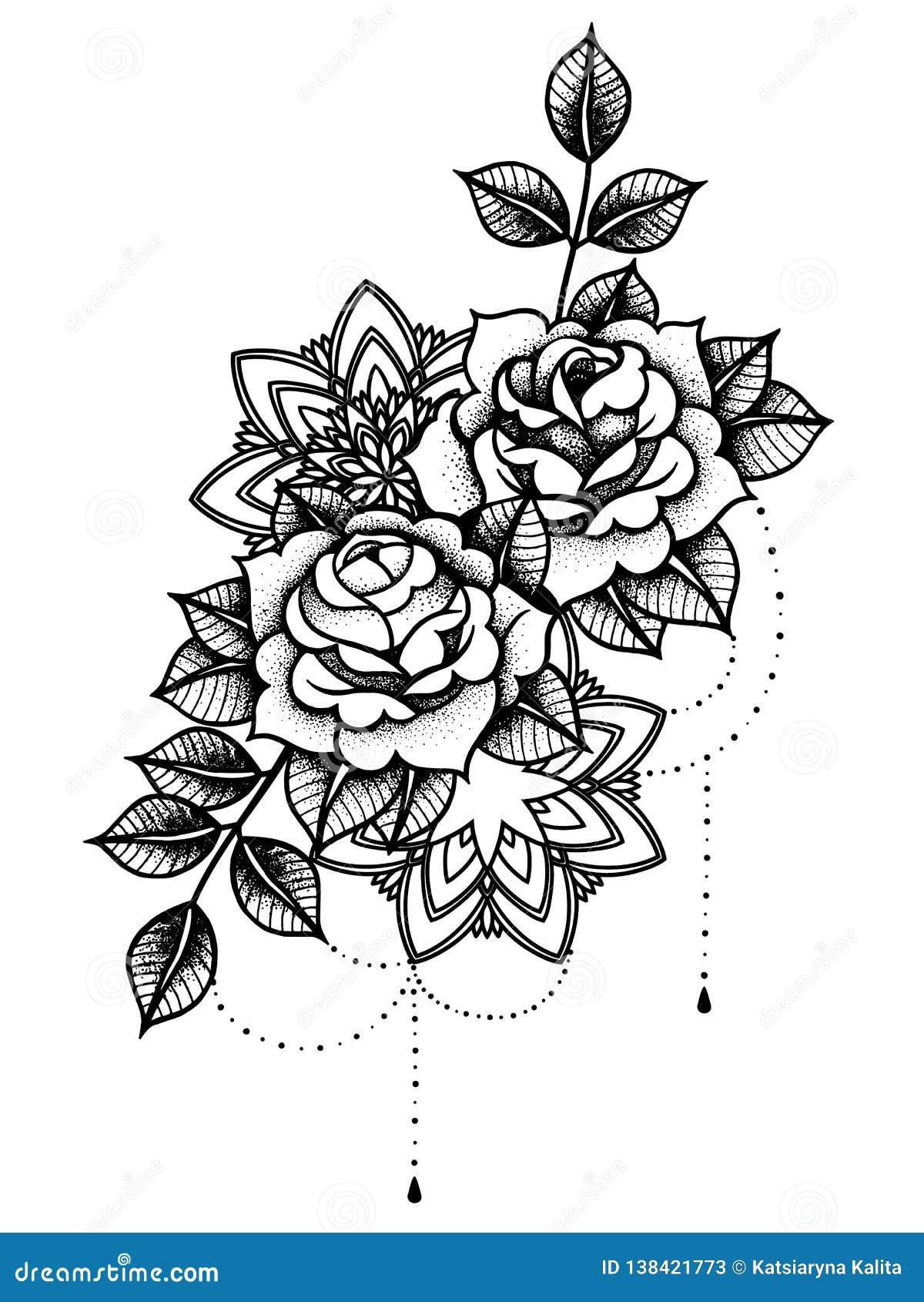 rose tattoo mystisches symbol blume mit schnur von perlen