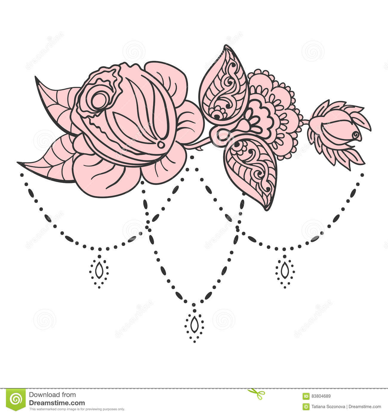 Rose Tattoo Pattern Stock Vector Illustration Of Label 83804689