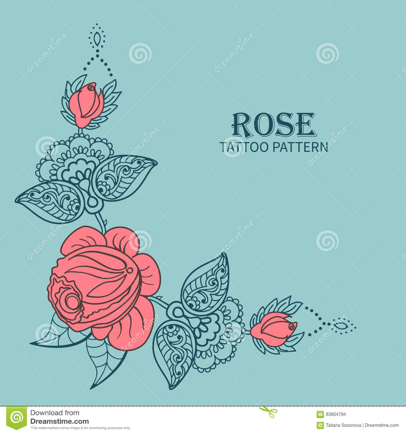 Rose Tattoo Pattern Stock Vector Illustration Of Corner 83804794