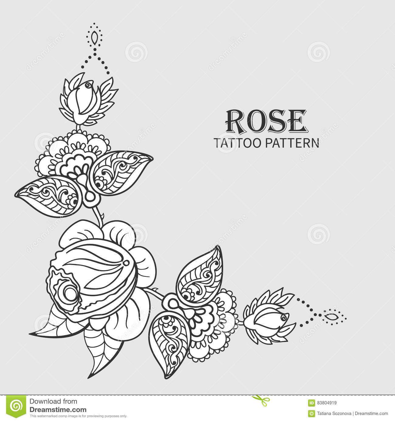 Rose Tattoo Pattern Stock Vector Illustration Of Design 83804919