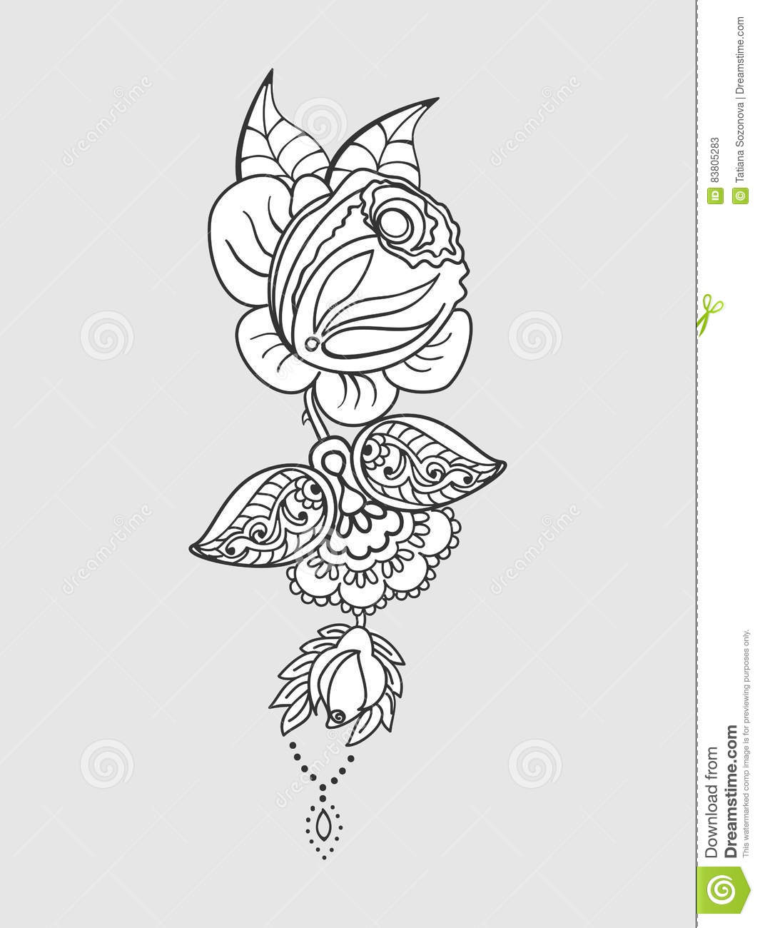 Rose Tattoo Pattern Stock Vector Illustration Of Nature 83805283