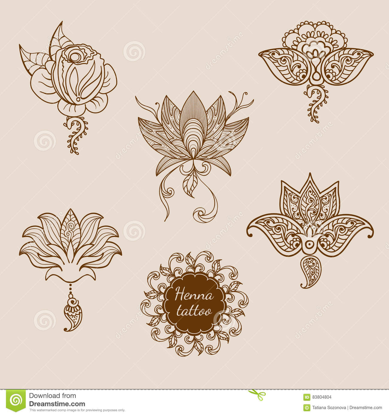 Rose Tattoo Pattern Stock Vector Illustration Of Flower 83804804