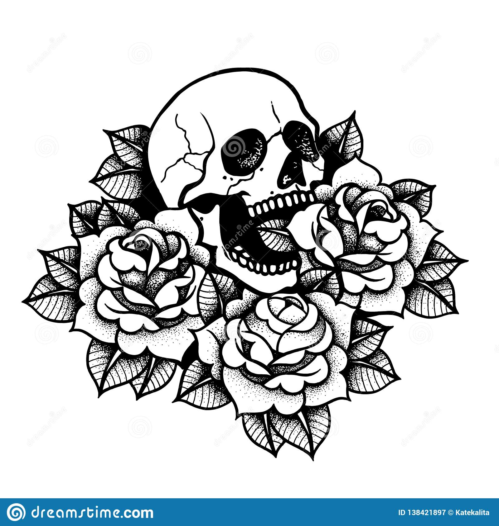 Rose Tattoo With Skull Traditional Black Dot Style Ink