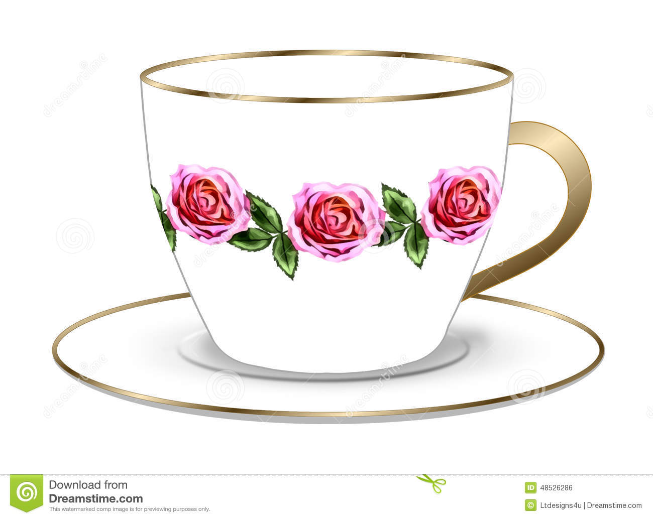 Tea Rose Clipart Black And White: Rose Tea Cup And Saucer Stock Illustration