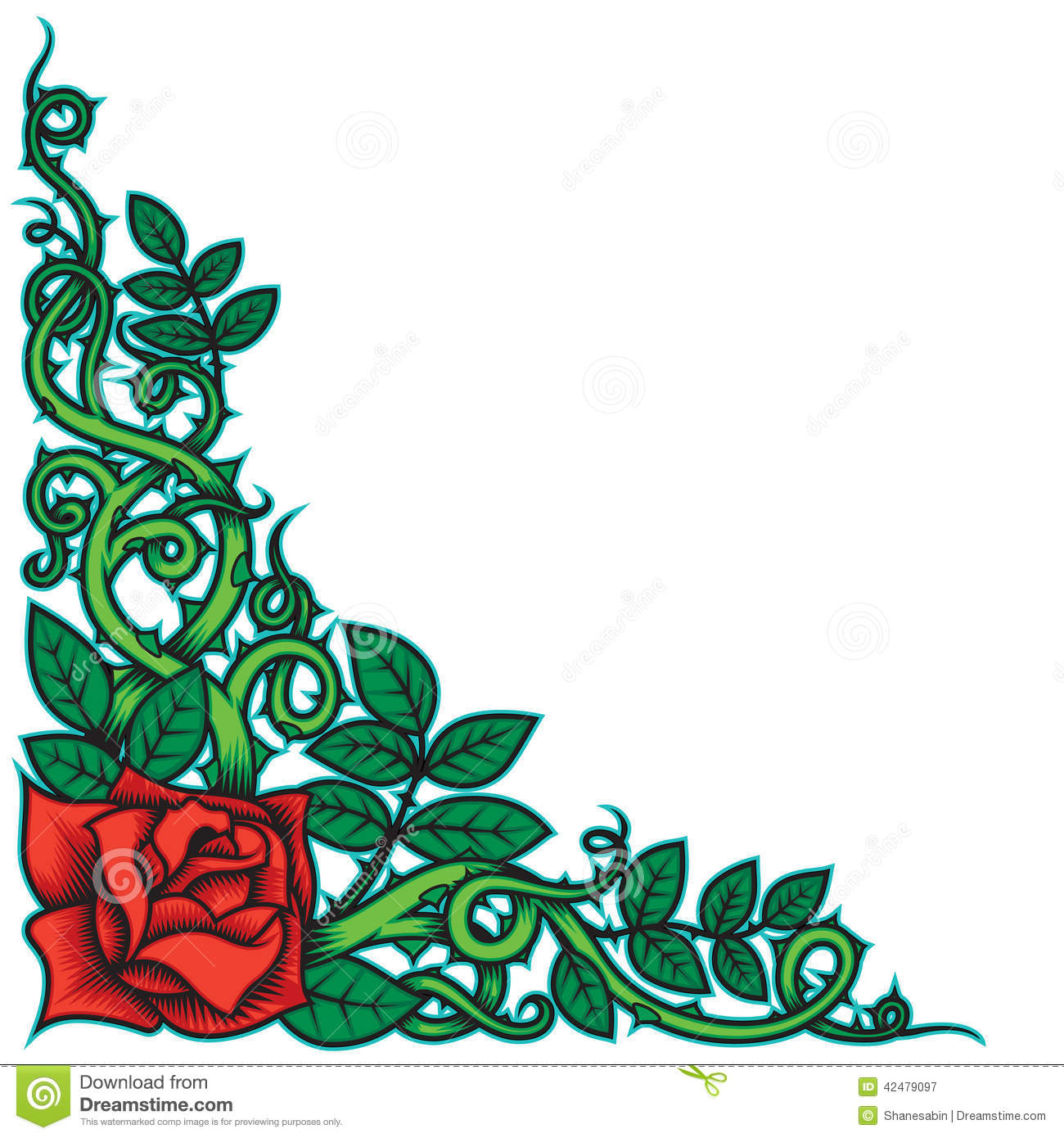 Rose And Thorns Border Stock Vector - Image: 42479097