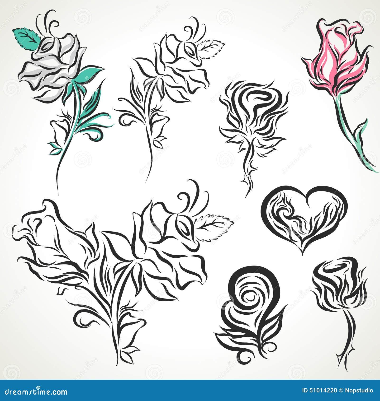 Rose Of Tribal Tattoo Set Stock Vector Illustration Of Decorative