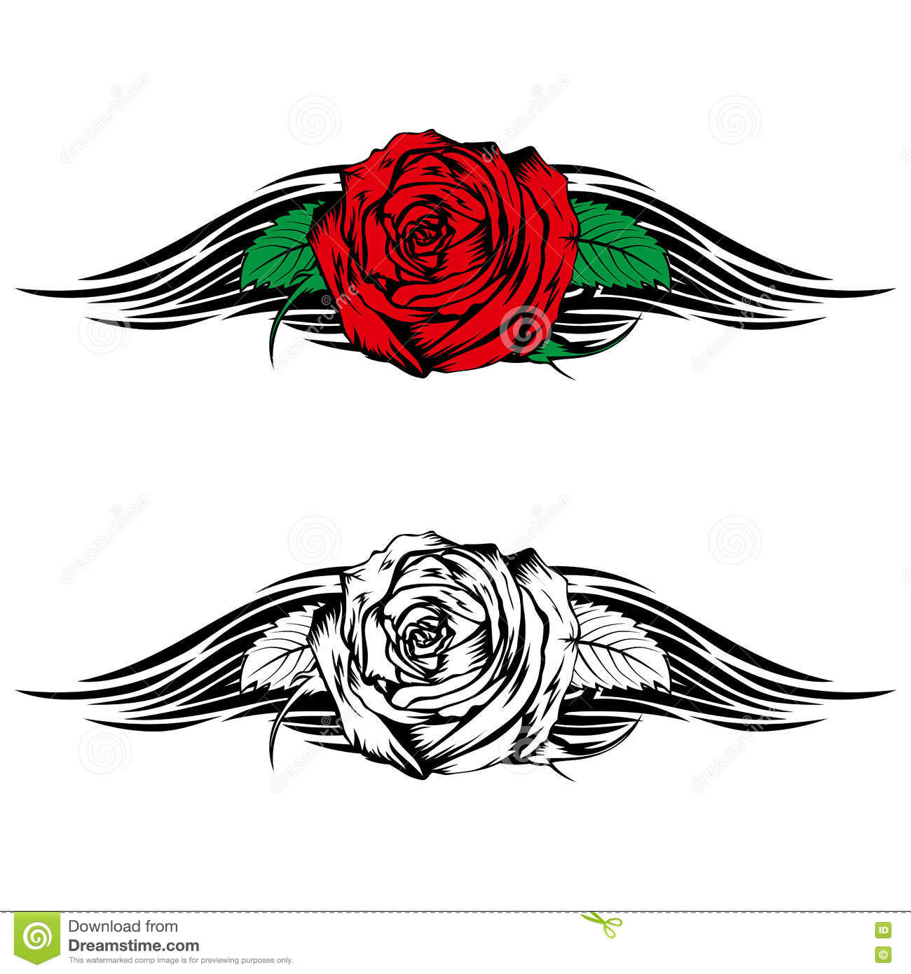 Rose With Tribal Stock Vector Illustration Of Ornamental 82212296