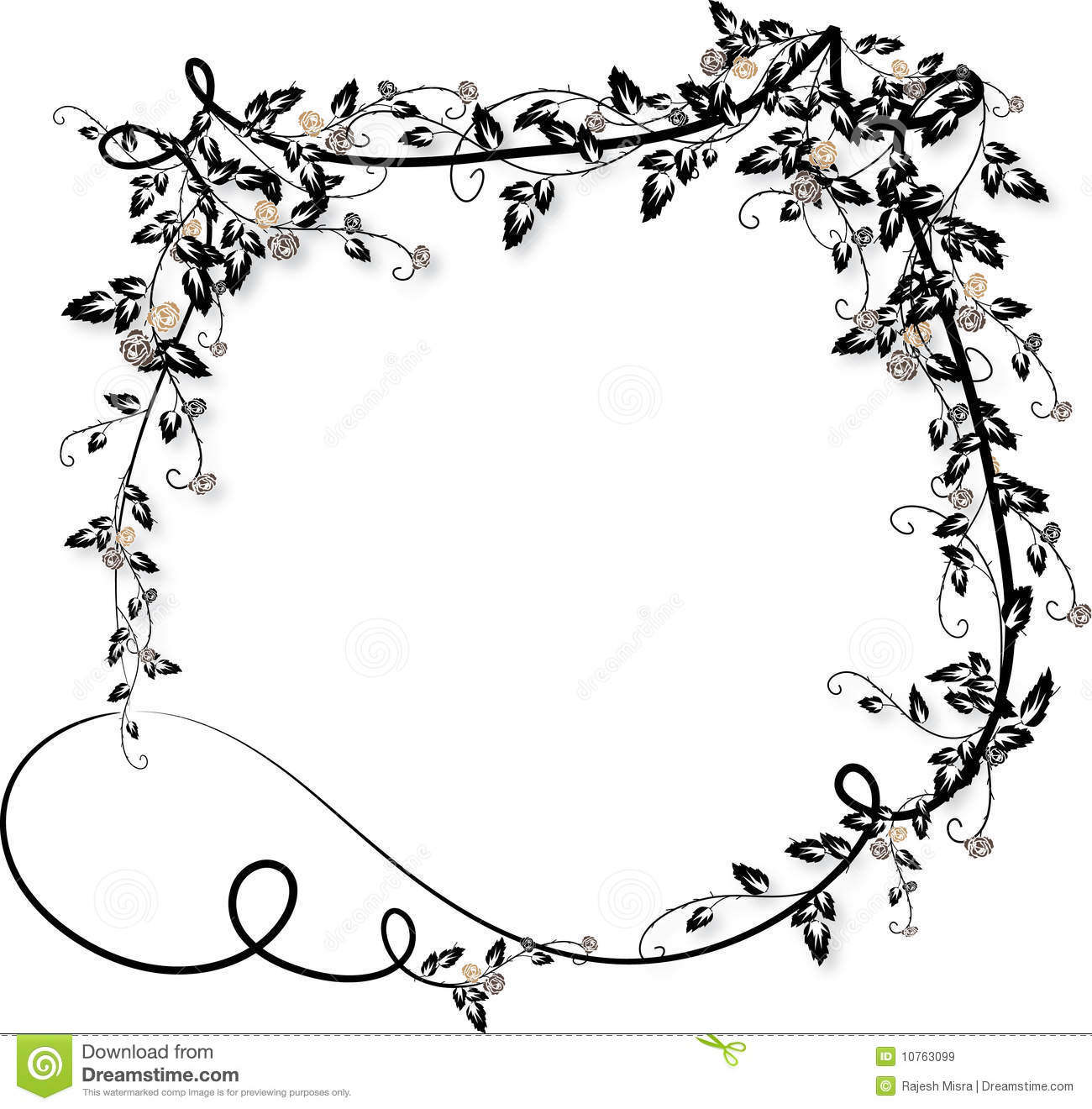 Rose Vines Frame-2 Royalty Free Stock Images - Image: 10763099