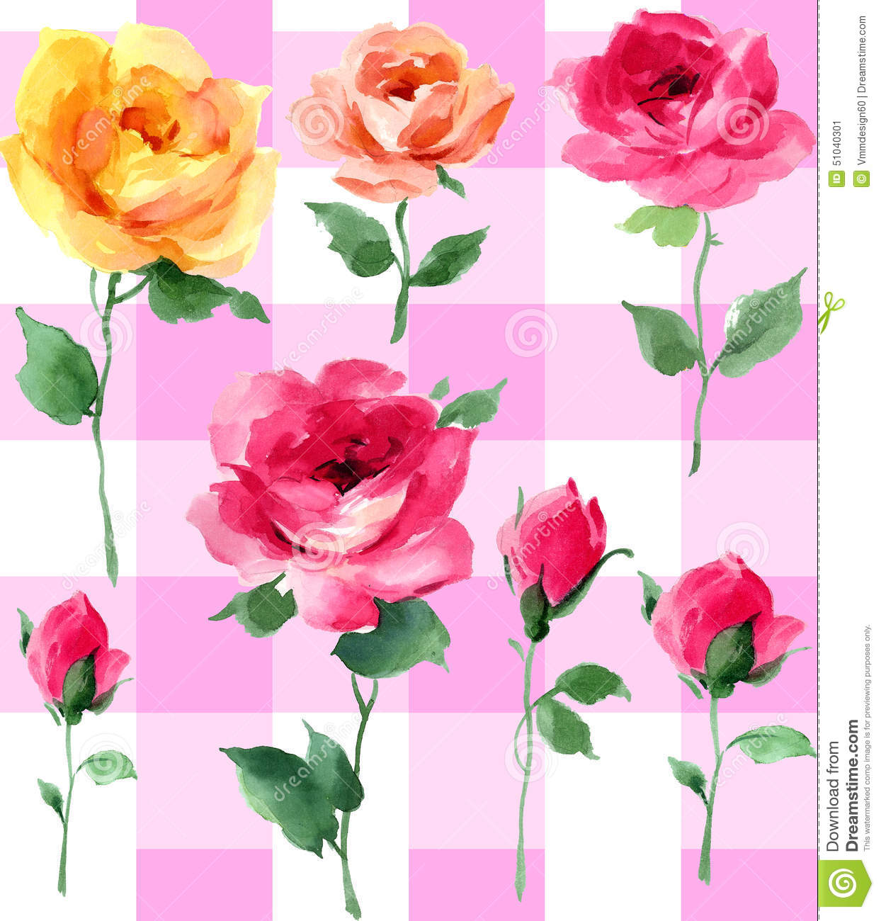 Popolare Rose Watercolor Seamless Pattern Impressionist Oil Painting On A  BN16