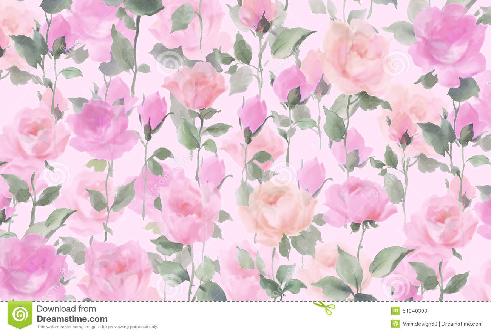 Rose watercolor seamle...