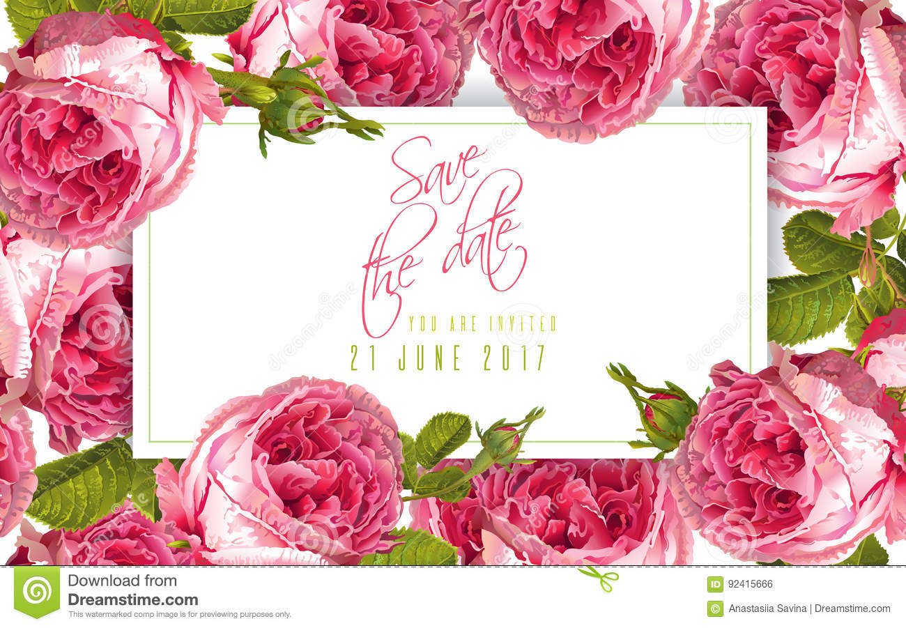 Rose wedding invitation stock vector. Illustration of background ...