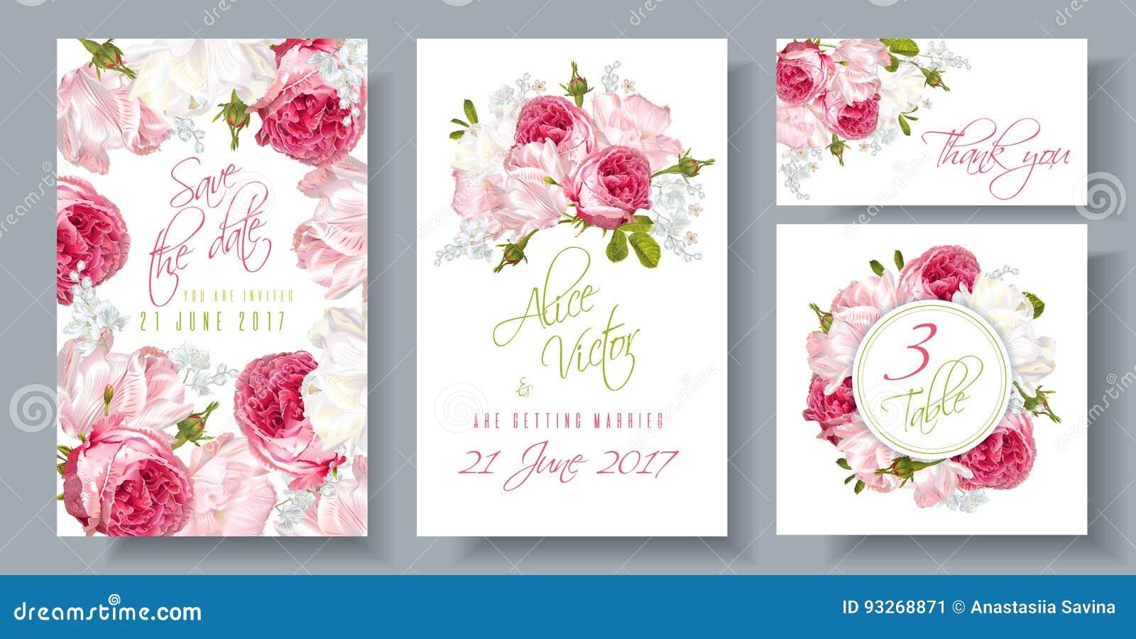 Vector Wedding Invitations: Rose Wedding Invitation Stock Vector. Illustration Of Date