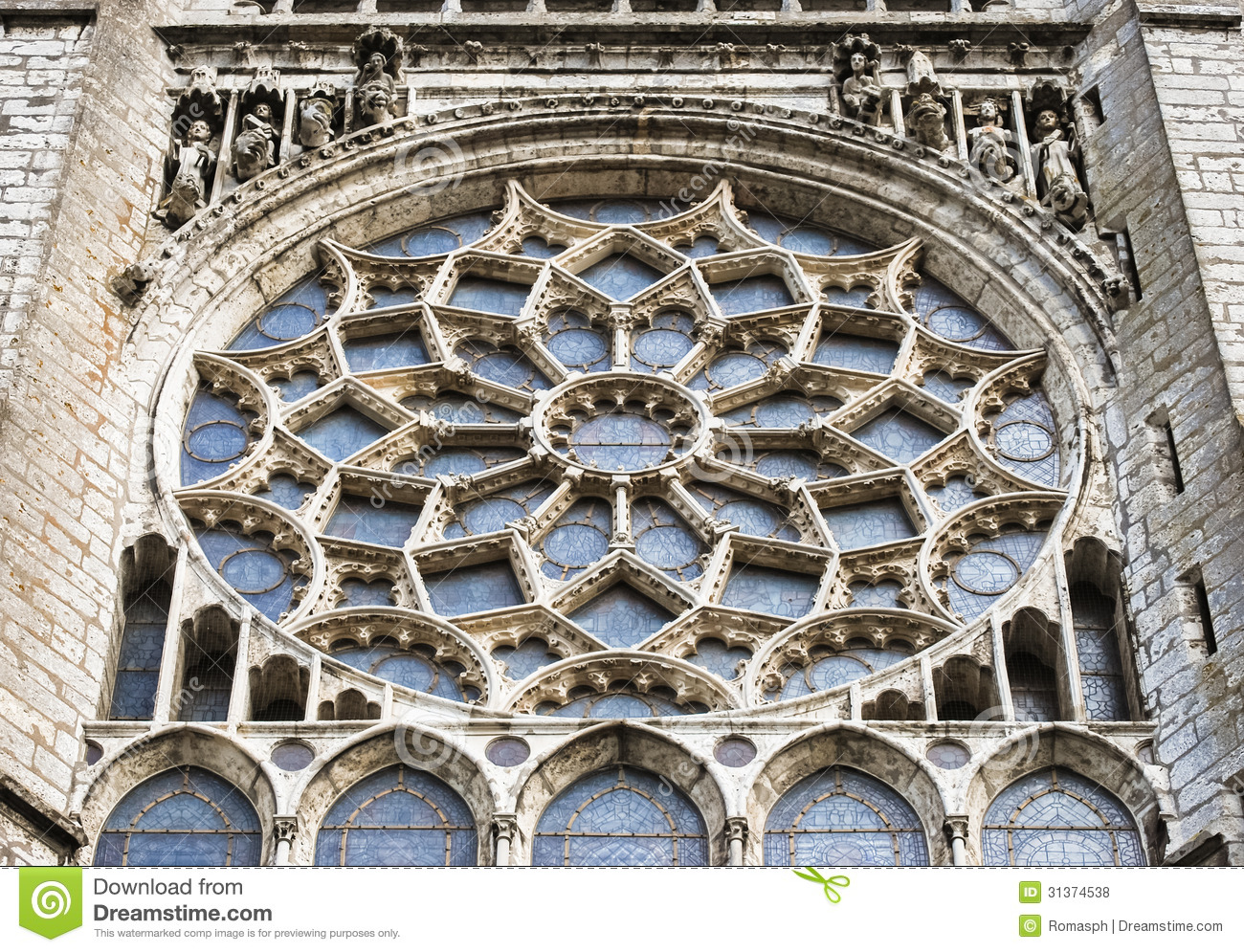 Big Gothic Rose Window Of Chartres Cathedral France