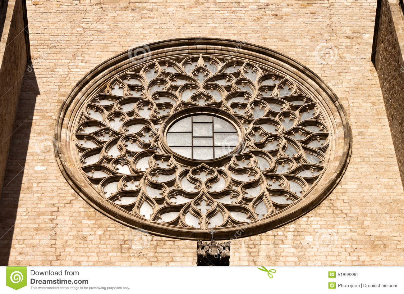 Download Rose Window Of St Mary The Sea Cathedral In Barcelona Stock Photo