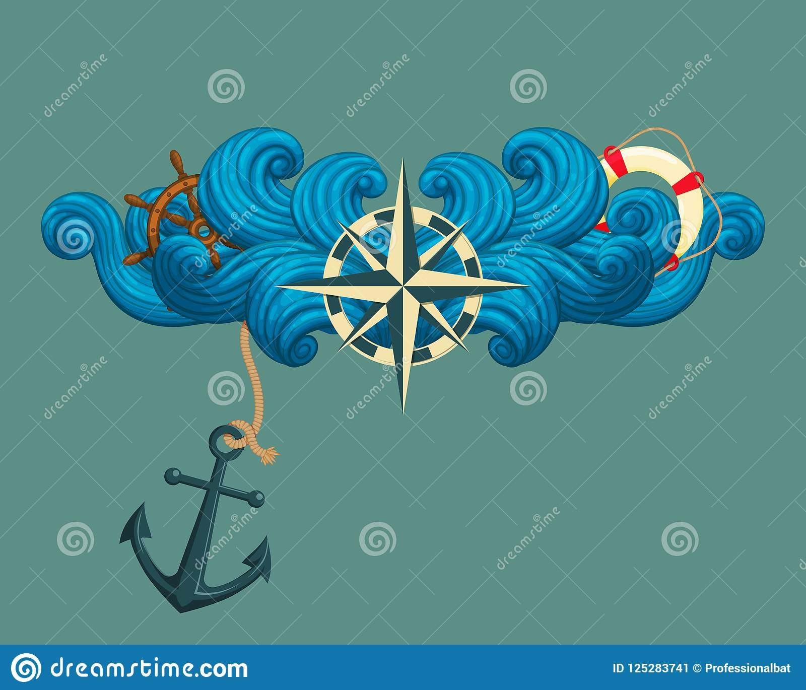 12c8a5876 Rose Of The Winds With Ship`s Wheel, Lifebuoy And Anchor. Stock ...