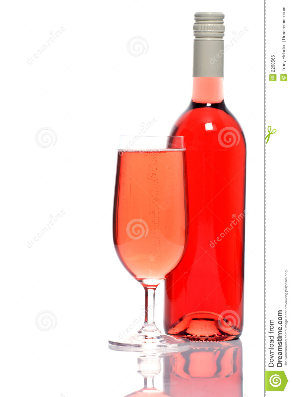 Rose Wine Bottle And Glass Royalty Free Stock Image - Image: 2268566