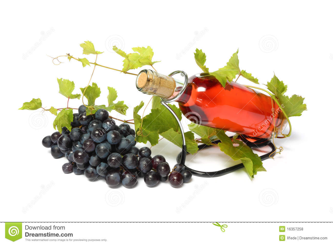 Rose wine bottle and grape isolated on white.