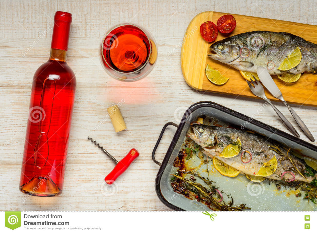 Rose wine and cooked trout fish royalty free stock for Wine with fish