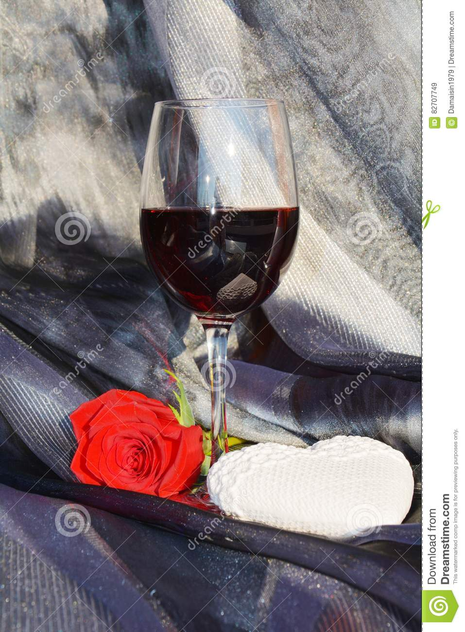 Rose, wine and heart