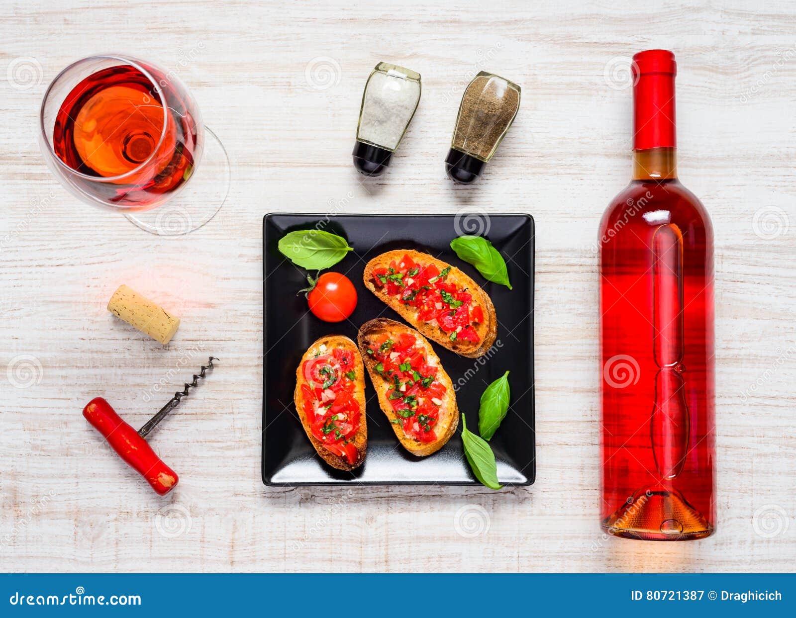 Rose Wine met Bruschetta in Hoogste Mening