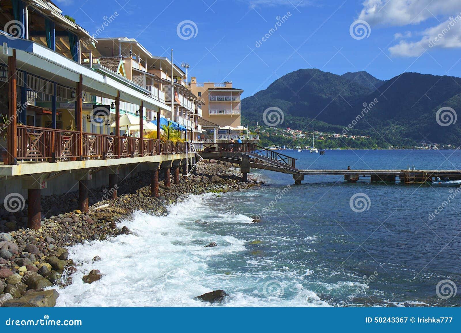 Roseau waterfront in Dominica, Caribbean