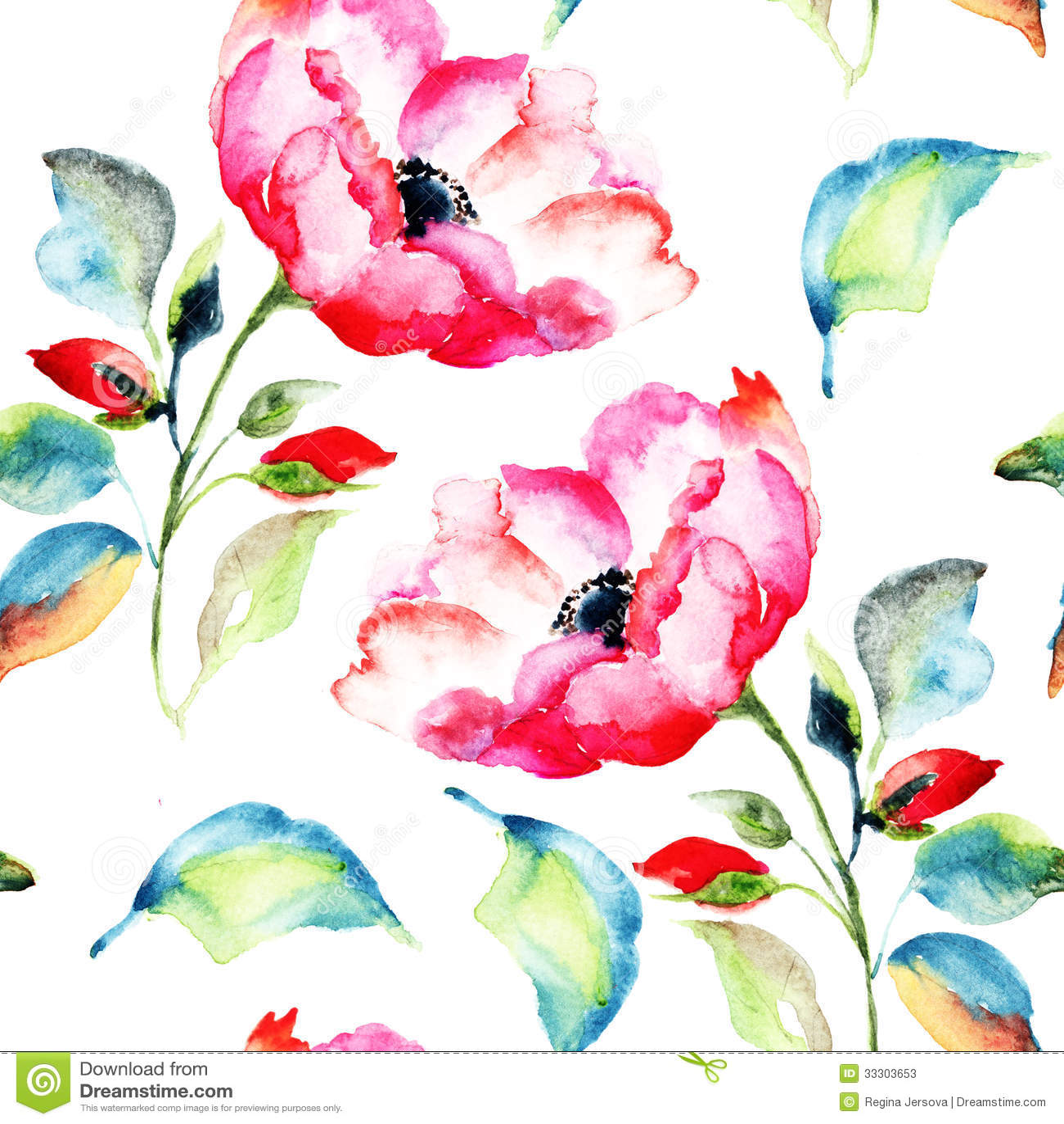 Rosehip Flower Seamless Pattern Stock Photos Image