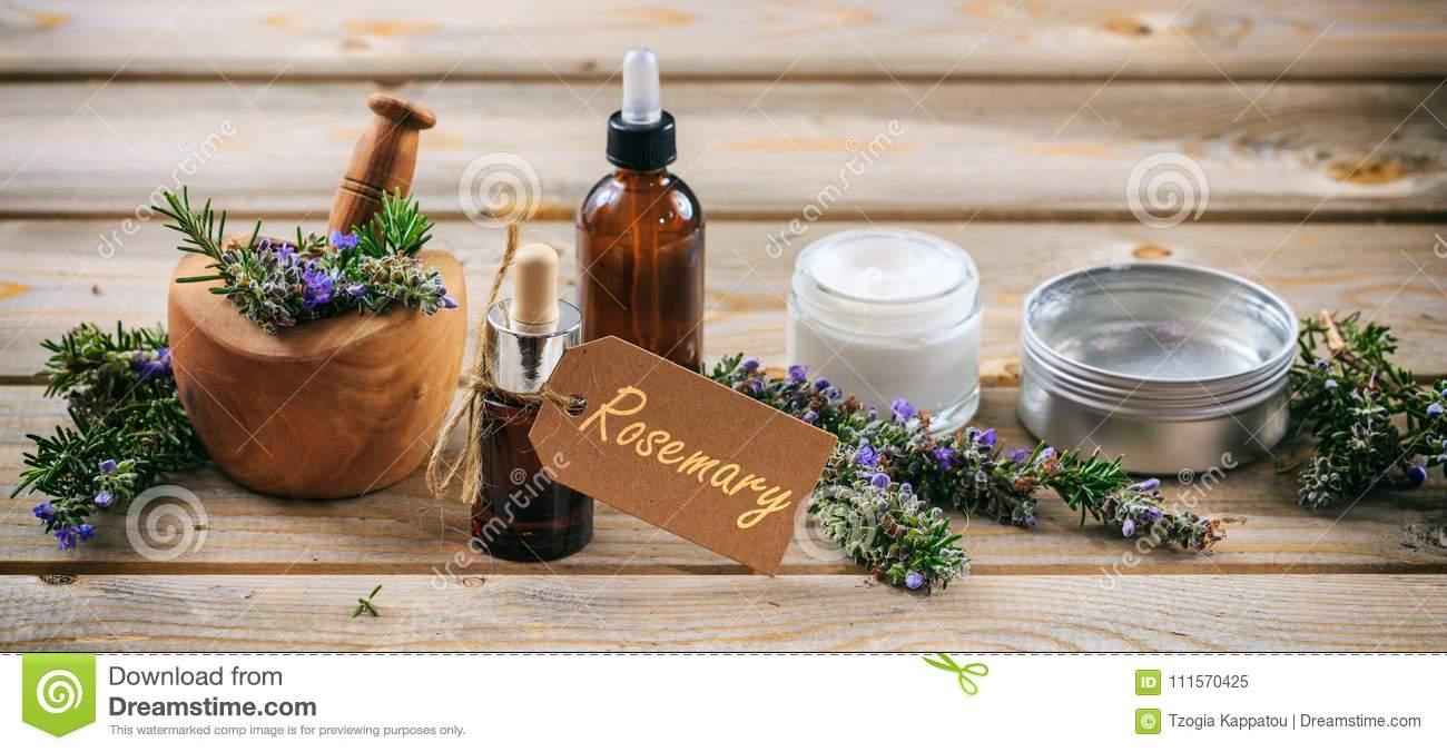 Rosemary Aromatherapy Essential Oil And Cosmetics Tag With Text Rosemary Banner Wooden Table Background Stock Image Image Of Label Homeopathy 111570425