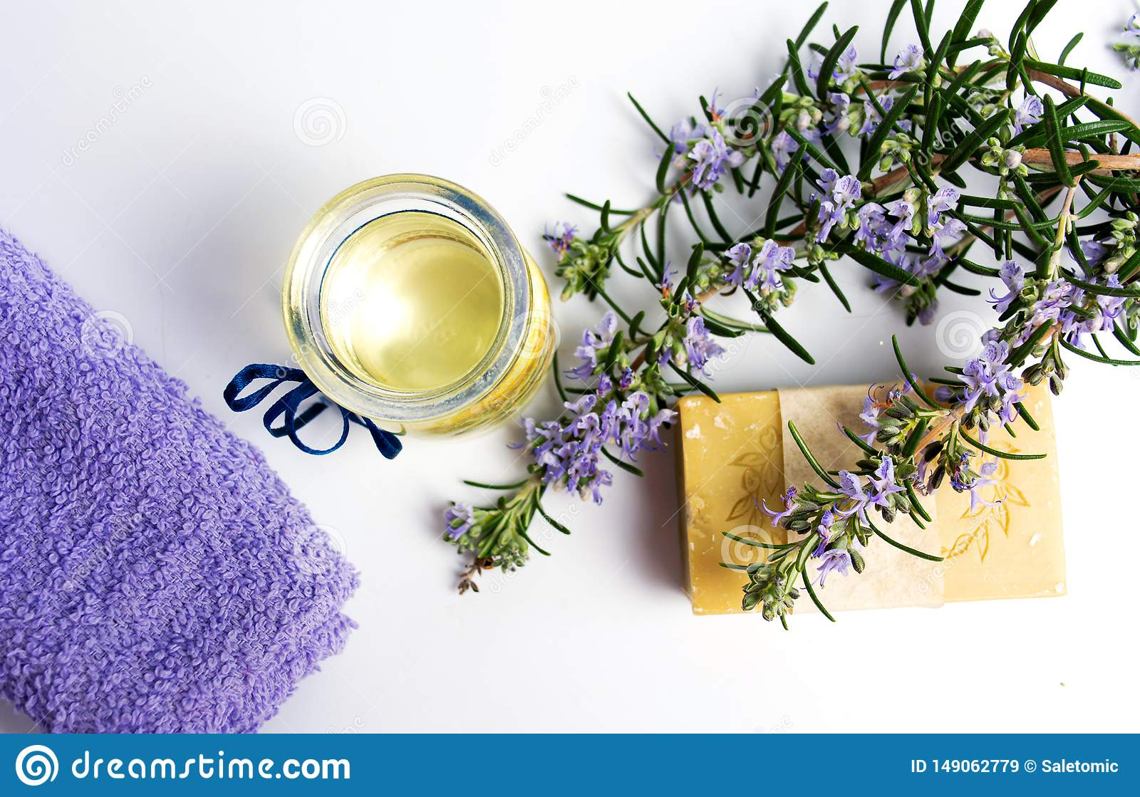 Rosemary plant natural soap with towel