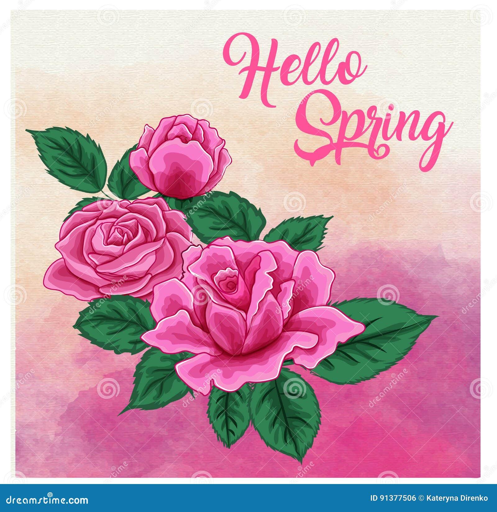 Rosen auf einem Aquarellhintergrund, können als Grußkarte, Einladungskarte für die Heirat benutzt werden, Geburtstag und anderer