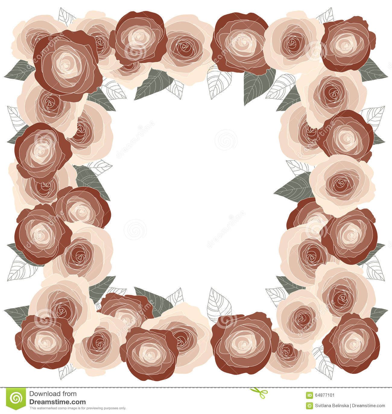 Rosen-Rahmen Für Eine Postkarte, Quadrat Vektor Abbildung ...