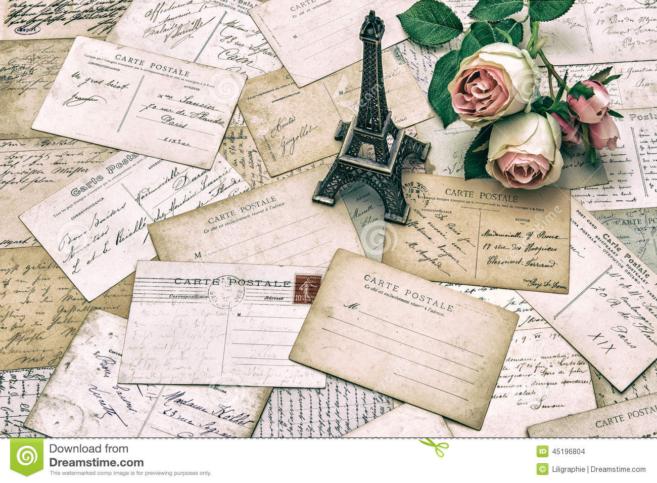 roses antique french postcards and eiffel tower paris stock photo image 45196804. Black Bedroom Furniture Sets. Home Design Ideas