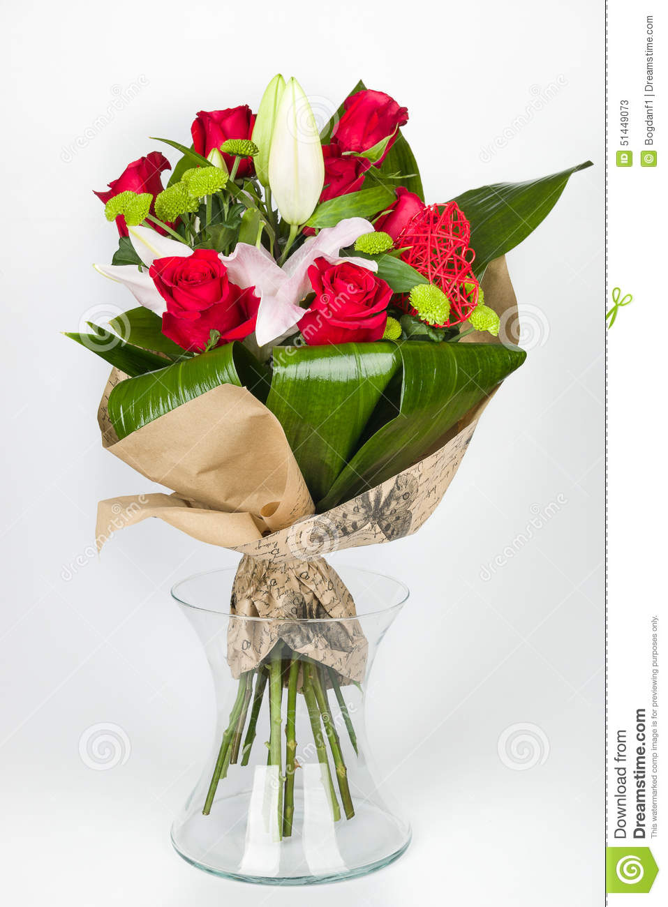 Flower Bouquet Arrangement And Lily In Transparent Vase Lateral View
