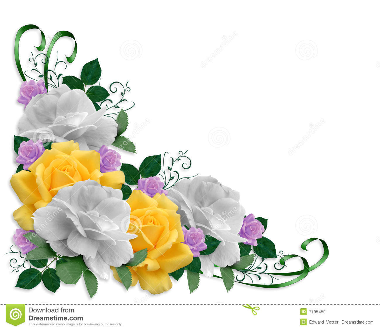 Image and illustration composition Corner roses design element for ...